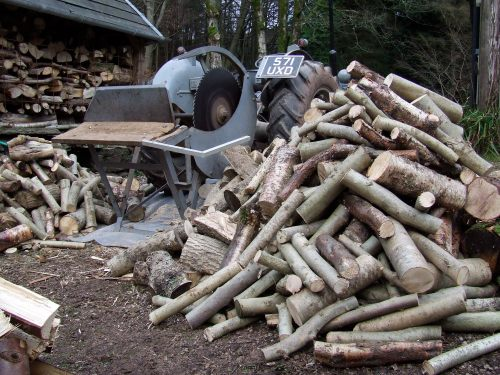 Tractor and logs