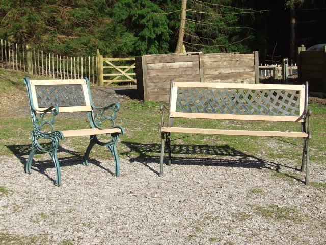 single and three seater benches