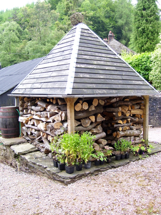 willow ball on top of the woodshed