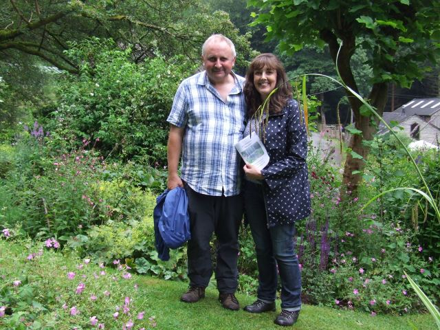 Kenneth and Deirdre by the rose bed