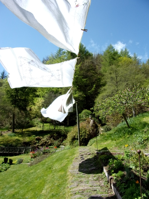 tablecloths on the washing line