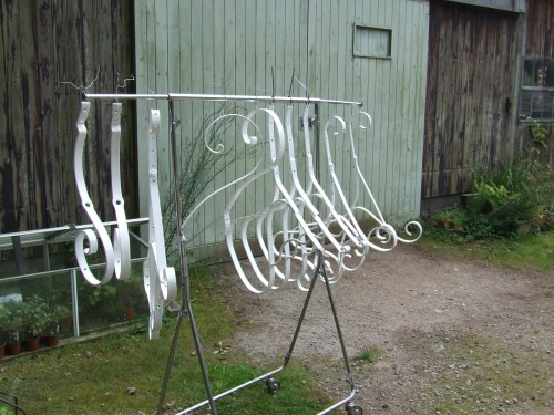 painted metalwork on the clothes rail!